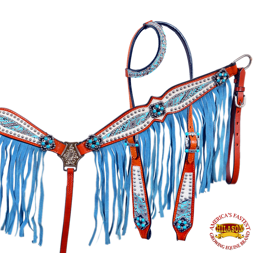HILASON AMERICAN LEATHER HORSE HEADSTALL BREAST COLLAR CONCHO TURQUOISE FRINGES