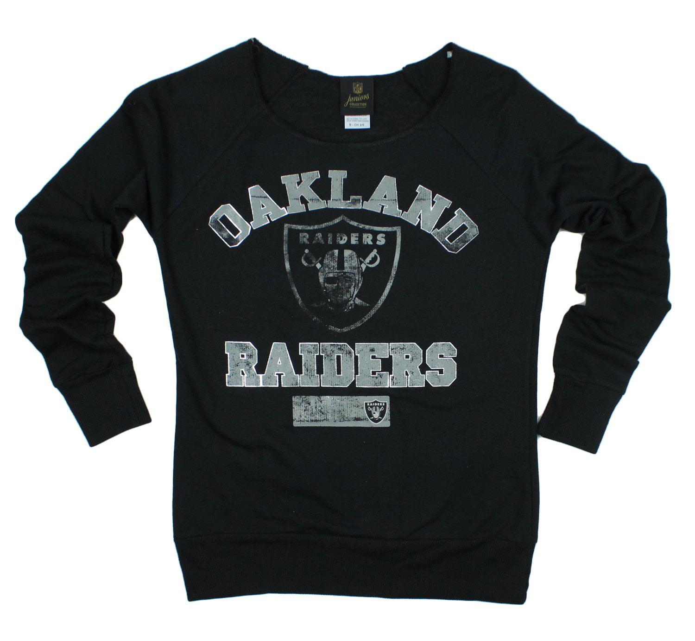 NFL Juniors Oakland Raiders Flashdance Off The Shoulder Pullover Sweatshirt, Black