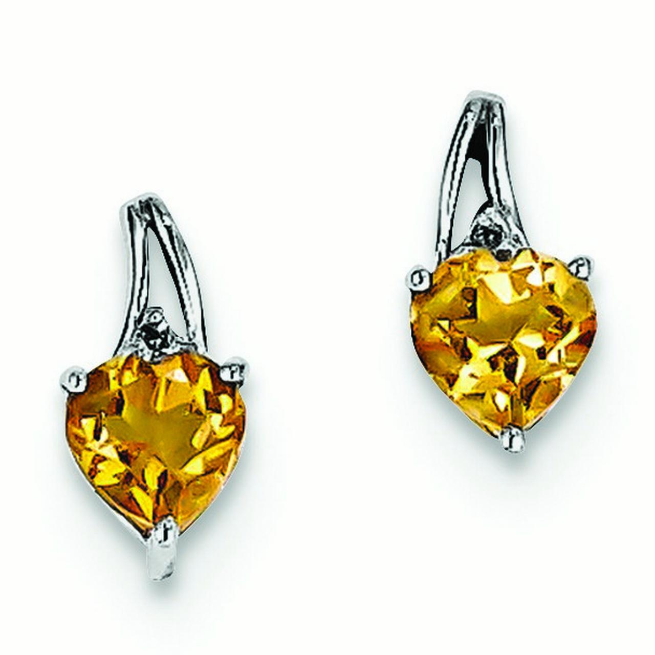 Sterling Silver Rhodium Plated Diamond Citrine Heart Post Earrings - .010 dwt .73 cwt