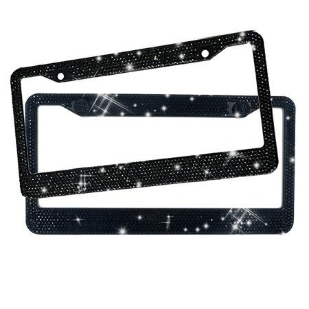 2-pack Rhinestone License Plate Frame, Pure Handmade Waterproof License Plate Frame Aluminium Metal Chrome Swarovski Crystal Diamond Bling License Plate with Screw - Swarovski Crystal License Plate