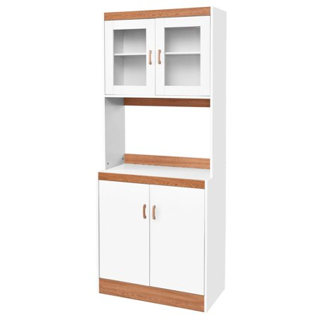 Gymax Tall Microwave Cart Stand Kitchen Storage Cabinet Shelves Pantry Cupboard White ()