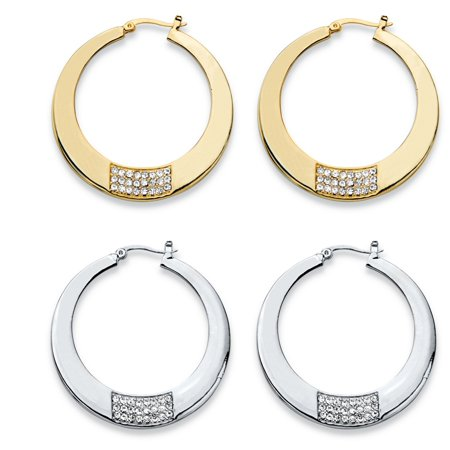 Tone Cluster Earrings (Round Crystal Square Cluster 2-Pair Hoop Earrings Set in Gold Tone and Silvertone (1 3/4