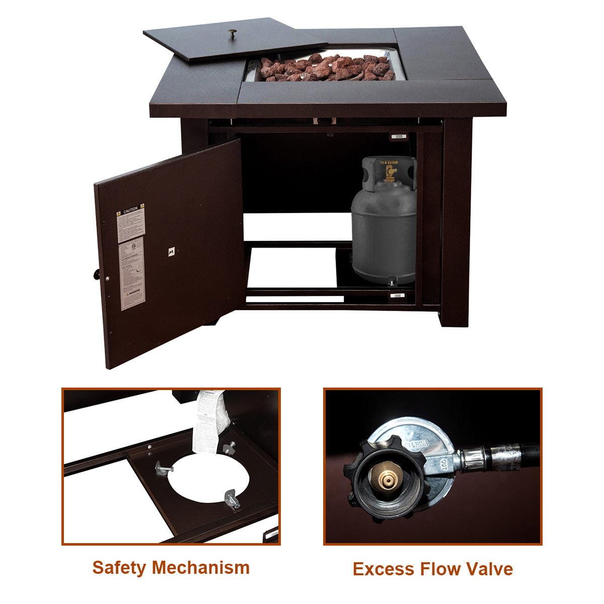 "Costway 38"" Square Patio Heater Propane Gas Fire Pit Table 40000 BTUs Outdoor - image 5 de 10"