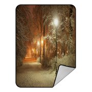 PHFZK Snow View Blanket, Winter Alley at Night and Shining Lanterns Fleece Blanket Crystal Velvet Front and Lambswool Sherpa Fleece Back Throw Blanket 58x80inches