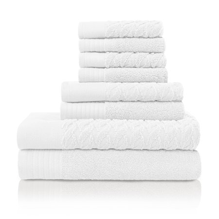 Superior Turkish Cotton Solid Braided Pattern 8-Piece Towel Set Bamboo Solid Towel Set
