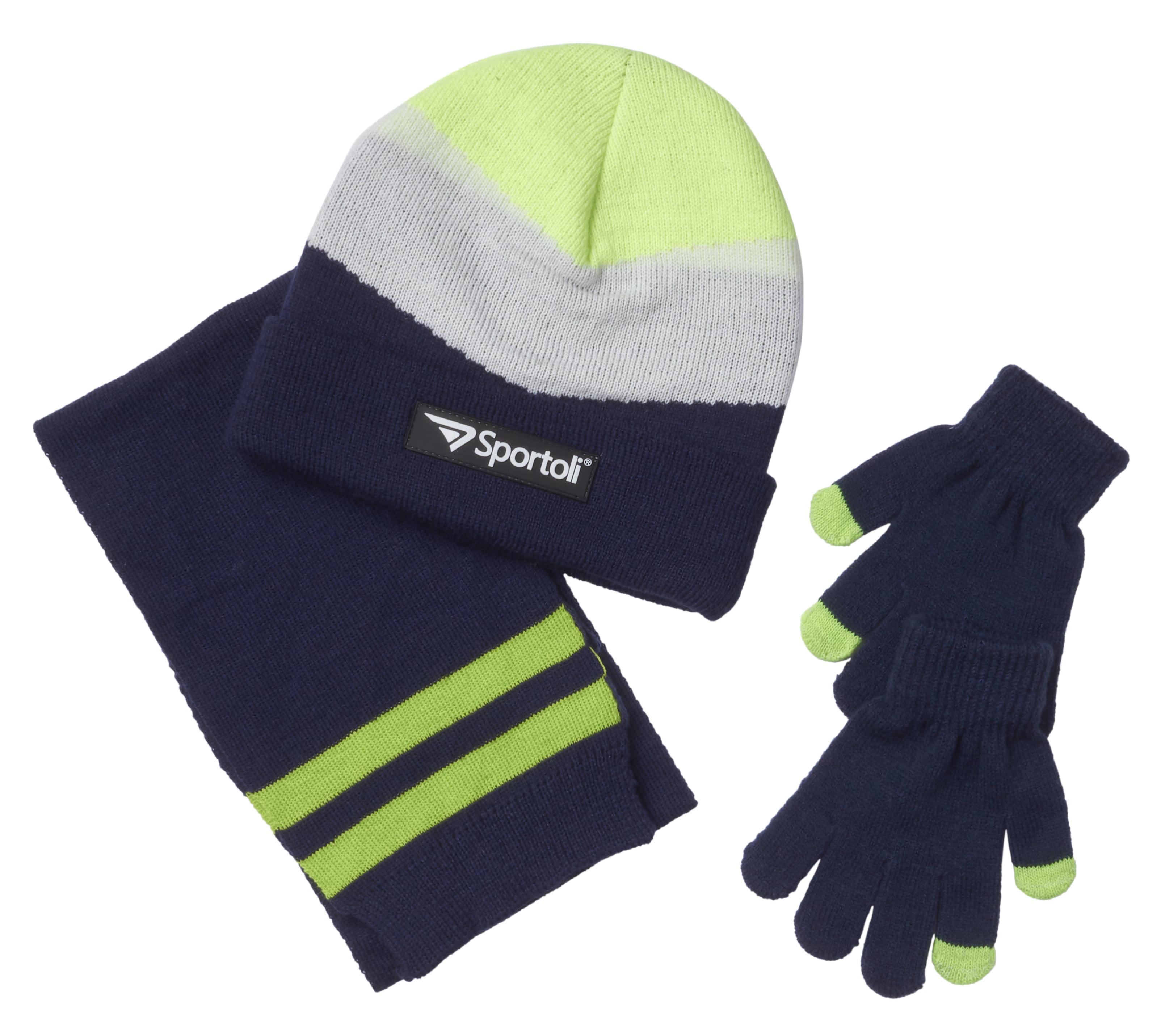 b2cb9eb563c2d8 Sportoli - Sportoli Men's and Boys' Kids 3-Piece Chevron Jersey Knit Cold  Weather Accessory Set Warm Lined Pull On Hat Scarf and Gloves - Walmart.com