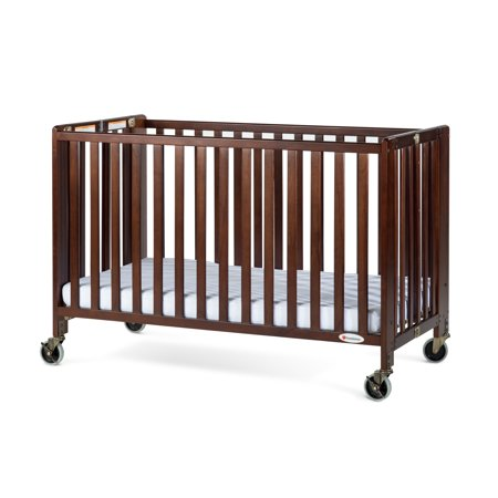 Foundations HideAway Full-Size Portable Wood Crib with Mattress, Antique Cherry