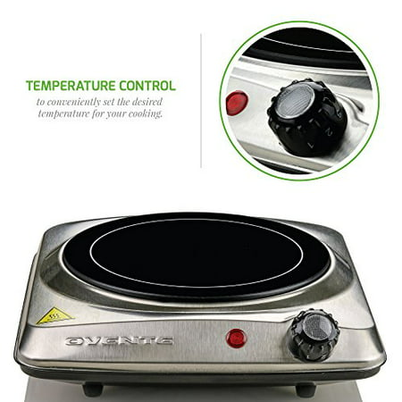 Ovente Countertop Infrared Burner ? 1000 Watts ? 7 Inch Ceramic Glass Single Plate Cooktop with Temperature Control, Non-Slip Feet ? Indoor/Outdoor Portable Electric Stove ? Stainless Steel (Square Flat Stainless Steel Burner)