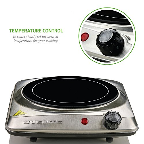 Ovente Countertop Infrared Burner ? 1000 Watts ? 7 Inch Ceramic Glass Single Plate Cooktop with Temperature Control, Non-Slip Feet ? Indoor/Outdoor Portable Electric Stove ? Stainless Steel (BGI101S)