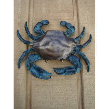 (Solid Brass Blue Crab Door Knocker Nautical FL Home/Beach House/Front Door Decor)