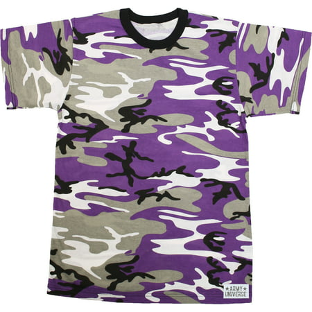 Army Universe - Purple Camouflage Short Sleeve T-Shirt with ARMY UNIVERSE  Pin - Size 2X-Large (49
