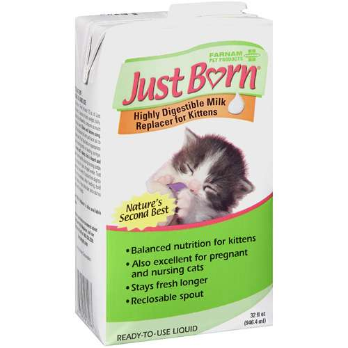 Just Born: Ready-to-Use Liquid Highly Digestible Milk Replacer For Kittens, 32 fl oz