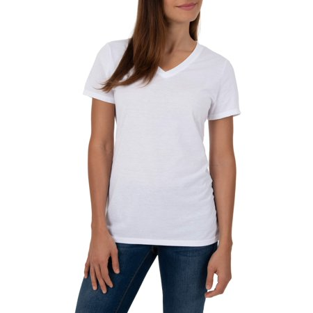 Women's Short Sleeve V-Neck Ruched Tee Shirt