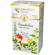 Celebration Herbals Roasted Dandelion Root Herbal Tea, 24 count, 0.74 oz, (Pack of 3)