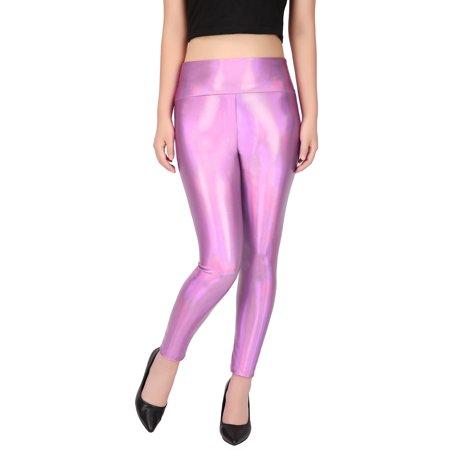 HDE Women's Shiny Holographic Leggings Liquid Metallic Pants Iridescent Tights (Pink, - Leggings Liquid