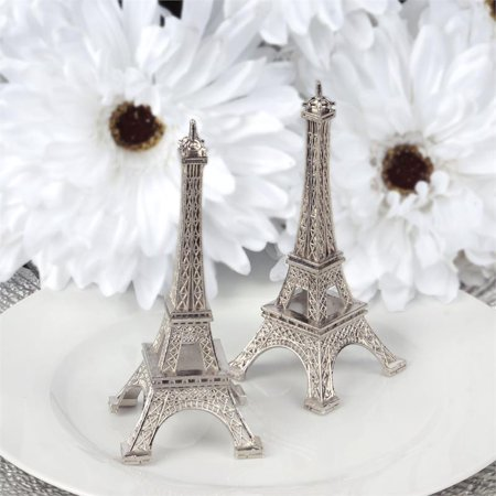 BalsaCircle 6 inch Eiffel Tower Centerpiece - Party Wedding Home Dinner Table Kids Room Decorations (Black And Silver Centerpiece Ideas)