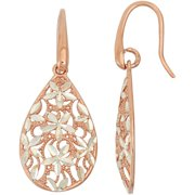 Rose Gold- and Rhodium-Plated Sterling Silver Teardrop Earrings with Flowers
