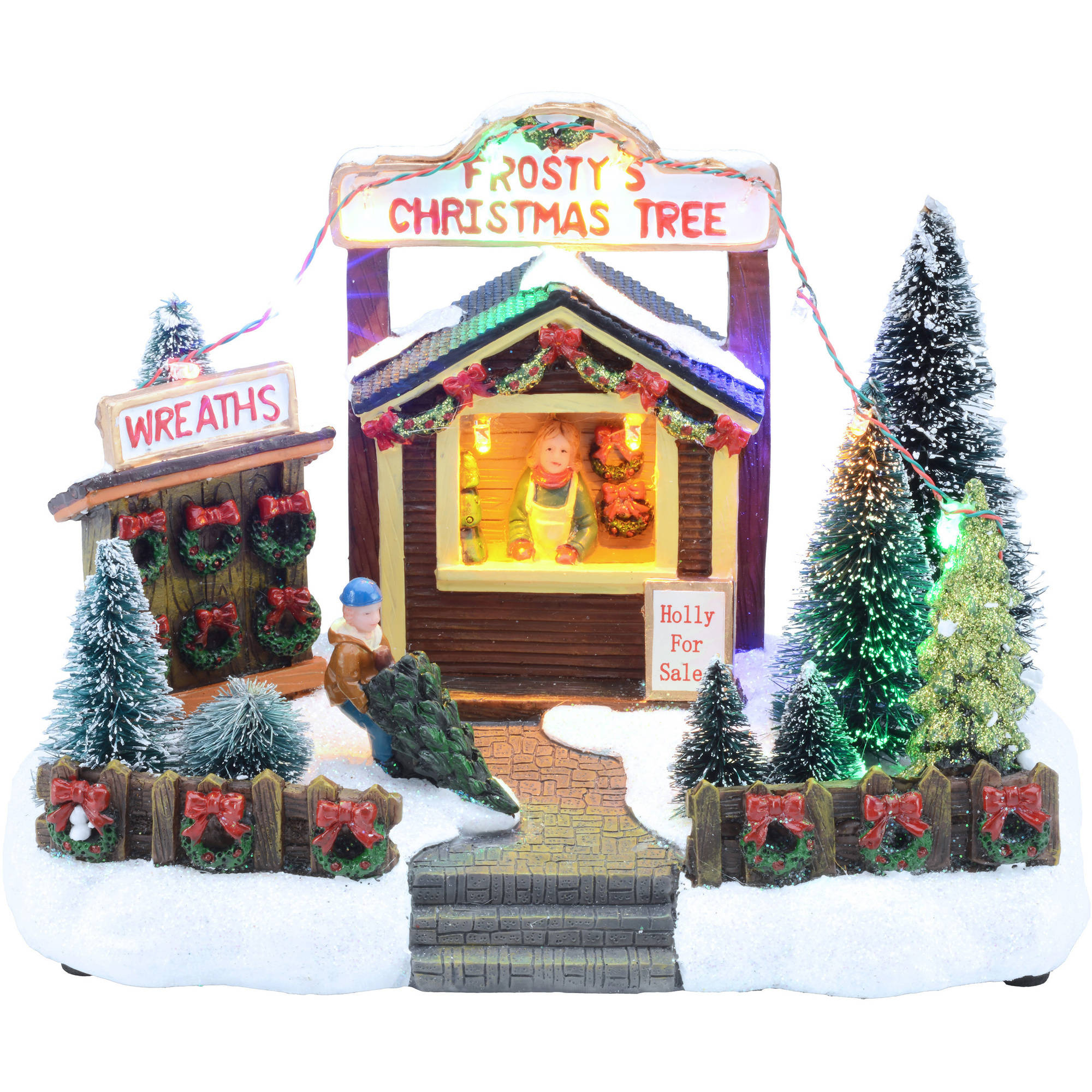 "Holiday Time 5.75"" Holly For Sale Christmas Village"