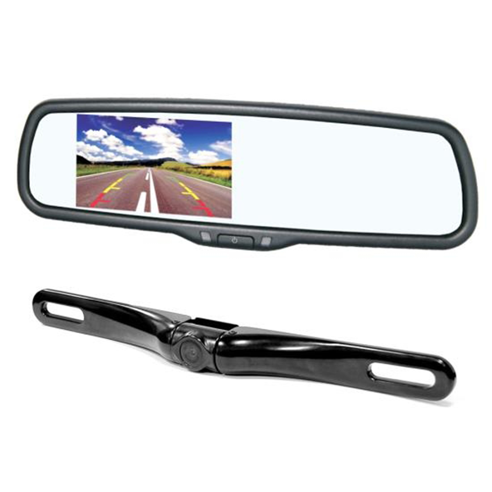 """Rearview Backup Parking Assist Camera & Display Monitor System Kit, License Plate Mount"