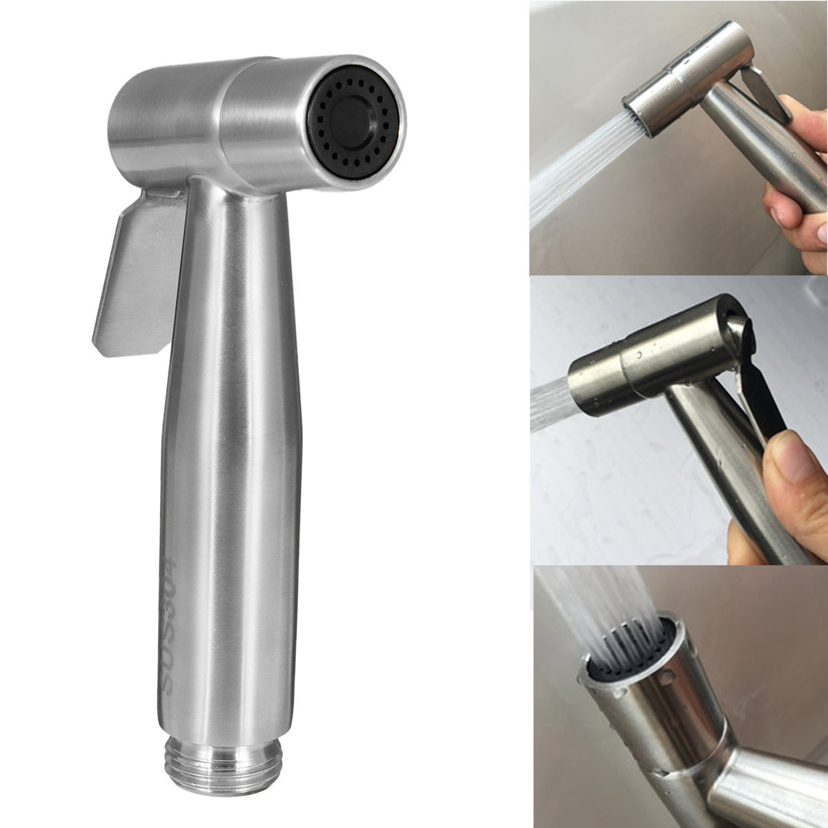 Stainless Steel Hand Held Shattaf Toilet Bidet Sprayer Bathroom Shower Head