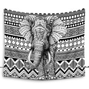 POPCreation Black And White Manlada Aztec Elephant Wall Hanging Tapestry Wall Art Tapestry 60x90 Inches