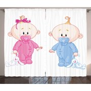 Gender Reveal Decorations Curtains 2 Panels Set, Cheerful Boy and Girl with Bunny Pacifiers Twins, Window Drapes for Living Room Bedroom, 108W X 90L Inches, Light Blue and Pink Peach, by Ambesonne