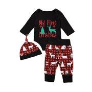 Christmas Outfits Newborn Infant Baby Boy Girl Clothes Set Bodysuit Pants Leggings Hat