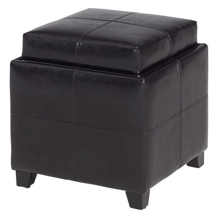 WHI SQUARE STORAGE OTTOMAN, FAUX LEATHER, BROWN