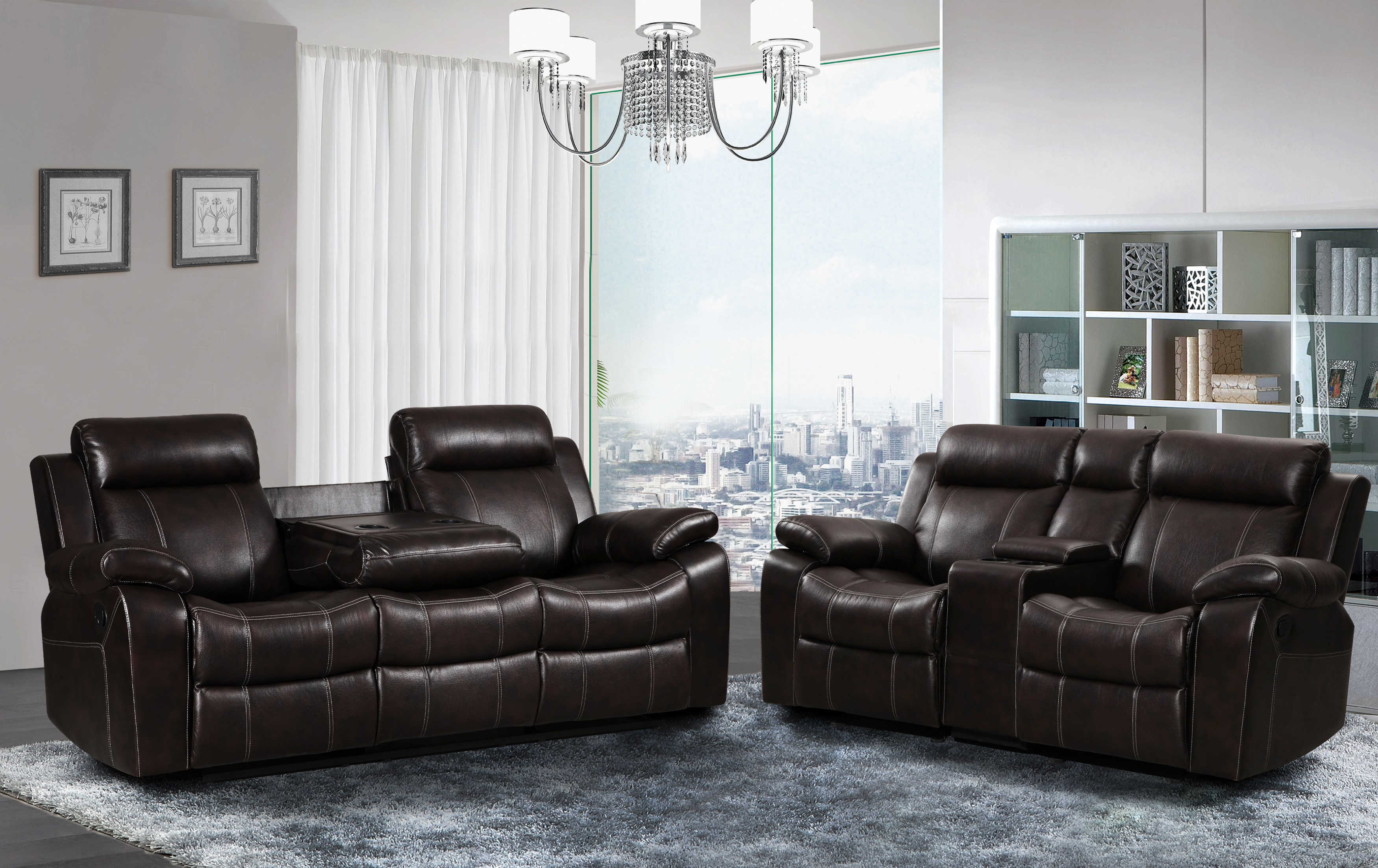 Izabella Dark Chocolate Corduroy 2 pc Reclining Sofa and Loveseat