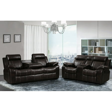 - Vivienne Dark Brown Leather Air 2 pc Reclining Sofa and Loveseat set