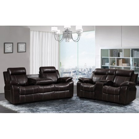 Vivienne Dark Brown Leather Air 2 Pc Reclining Sofa And