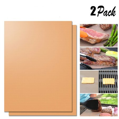 Gold Grill Mat - 100% Non-stick BBQ Grill & Baking Mats - FDA-Approved, PFOA Free, Reusable and Easy to Clean - Works on Gas, Charcoal, Electric Grill and More (2 pack)