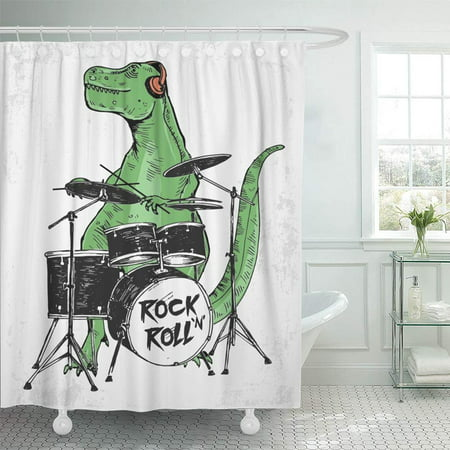 PKNMT Green Cool Rock Star Dinosaur for Kid Uses Funny Animal Music Boy Drum Monster Shower Curtain Bath Curtain 66x72 - Boys In The Shower