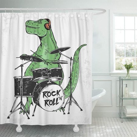 PKNMT Green Cool Rock Star Dinosaur for Kid Uses Funny Animal Music Boy Drum Monster Shower Curtain Bath Curtain 66x72 inch