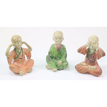 3 Feng Shui Hear See Speak No Evil Happy Face Buddha Monks Figurines Statues