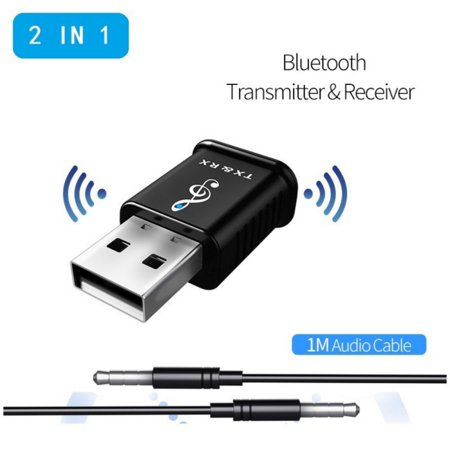 Bluetooth 5.0 Music Audio Transceiver and Receiver 2-in-1 For USB Computer Speaker Headphone