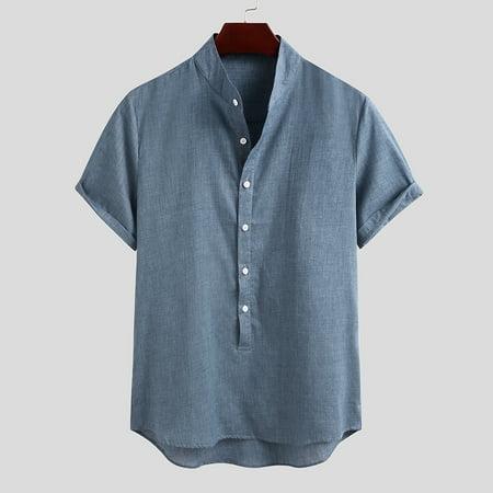 Summer Mens Short Sleeve Casual Cotton Linen Henley Shirts