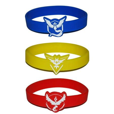 3 Pokemon GO Team Spirit Bracelets Team Valor Mystic & Instinct Bundles