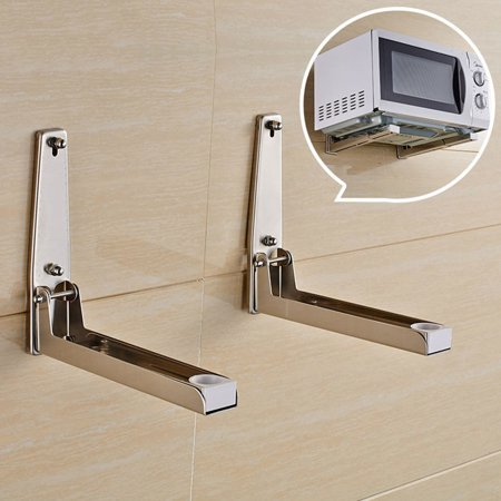 2xFoldable Stretch Shelf Rack Wall Mount Kitchen Microwave Oven Stand  Bracket Stainless Steel Microwave Oven Shelf