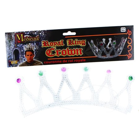 Royal King Costume Crown Silver With Jewels Adult Men - image 1 of 1