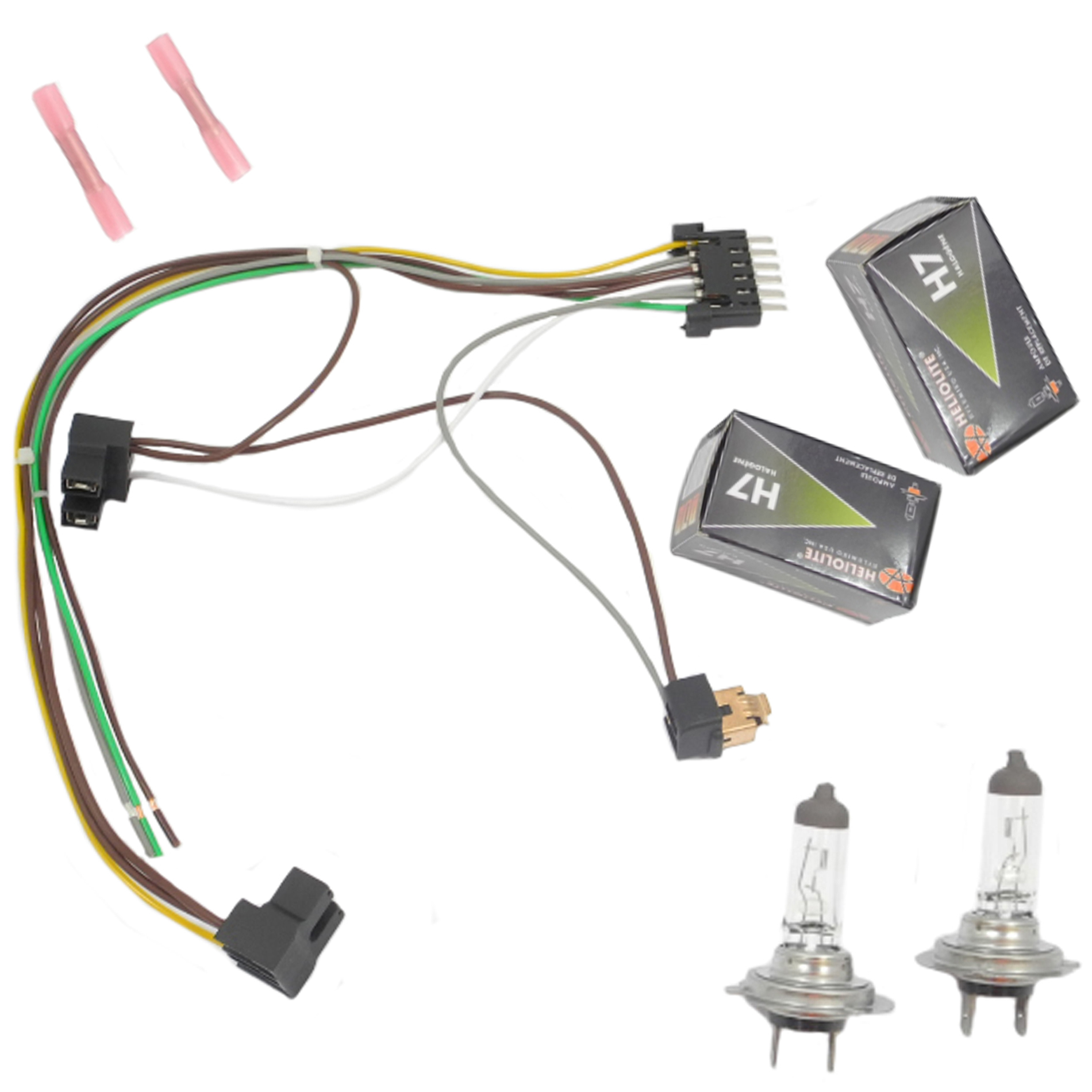 cf advance for 00 02 mercedes benz s430 s500 s500 amg s600 left or right headlight wiring harness and h7 55w headlight bulb 2000 2001 2002 Wire Harness Tape