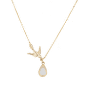 Lux Accessories Goldtone Boho Dove and Druzy Stone Novelty Pendant Necklace