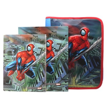 Spider-Man Vinyl Cover Zippered 3-Ring Binder w/Notebook and Folder