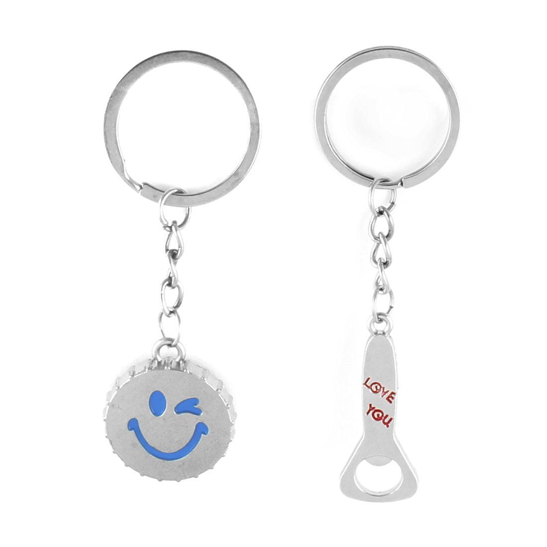 Metal Beer Cap Bottle Opener Shaped Pendant Couple Keychain Key Ring Holder Pair - image 1 de 3