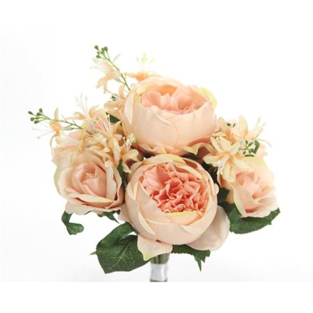 Admired By Nature GPB8360-PEACH 10 Stems Beautiful Stylish Faux English Rose & Rose Bud Bouquet, Peach ()