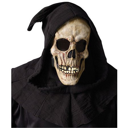 Shroud Skull Mask with Open Mouth Adult Halloween Accessory - Halloween Map Open