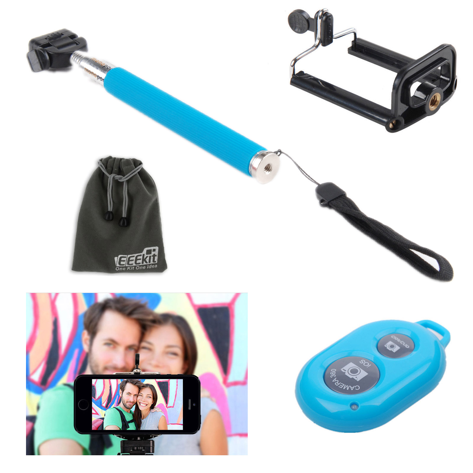 EEEKit Selfie Stick, Remote Shutter for Samsung Galaxy S7 S6 Edge (Plus) Note 5 4 3 iPhone 7 6 6S Plus 5S 5C SE
