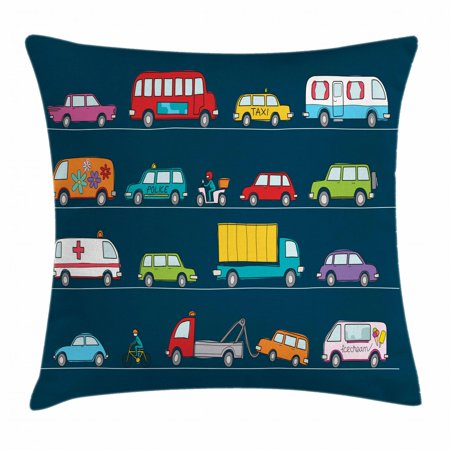 Cars Throw Pillow Cushion Cover, Hand Drawn Various Types Vehicles Trucks Hippie Van Cartoon Transportation Pattern, Decorative Square Accent Pillow Case, 20 X 20 Inches, Multicolor, by Ambesonne ()