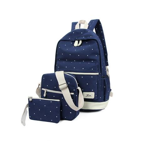 Lowestbest 3Pcs/Sets School Canvas Backpacks for Teenage Girls, Travel Scatchel Rucksack Backpacks for Middle School(1 Backpack+1 Shoulder bag+ 1 Handbag), Black School Backpack for