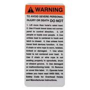 COFFING PB296 Coffing Warning Tag